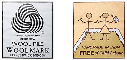 Certifikáty koberců, čístá vlna, ruční výroba v Indii